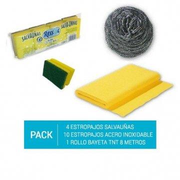 Pack de 4 Estropajos Salvauñas + 10 Estropajos Acero Inoxidable + Rollo bayeta TNT 8m