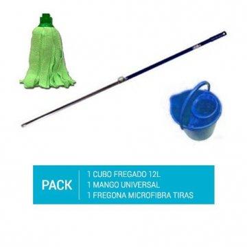 Pack de 1 cubo de fregona azul de 12l, un mango de aluminio de 140cm y un recambio de fregona de microfibra de tiras