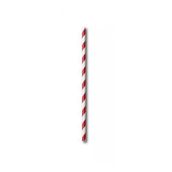 Canutillo Papel Blanco y Rojo Recto 6mm